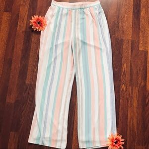 Conrad C Wide Leg Striped Pants Size 10 and lined.